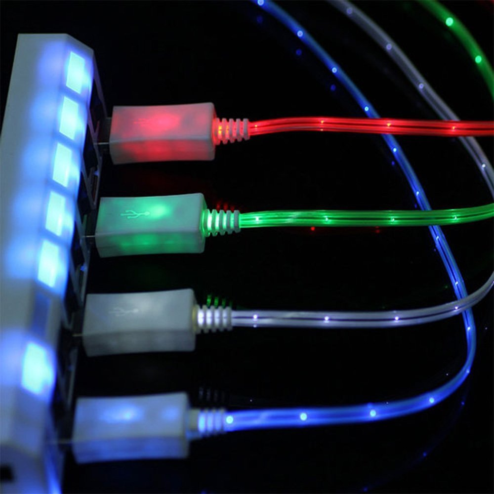 SN-RIGGOR 4 Packs 3.3ft Glowing Micro Usb cable Fast Charge LED Light Up Micro USB cable Micro usb led light cable Night Light for Samsung Galaxy s7 S6 edge S3 HTC OneLg Blue,Green,Yellow,Red by SN-RIGGOR