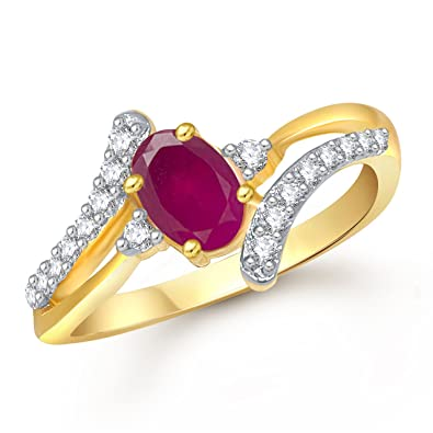 Buy Meenaz Ruby 24K Gold Ring For Girls & Women In American