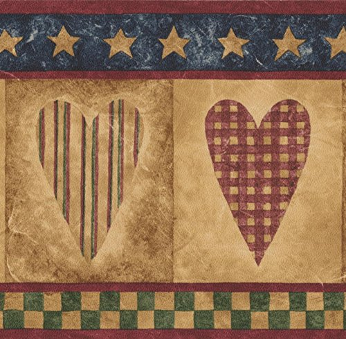 Vintage Checkered Striped Hearts Wallpaper Border Retro Design, Roll 15' x 5.25'' ()