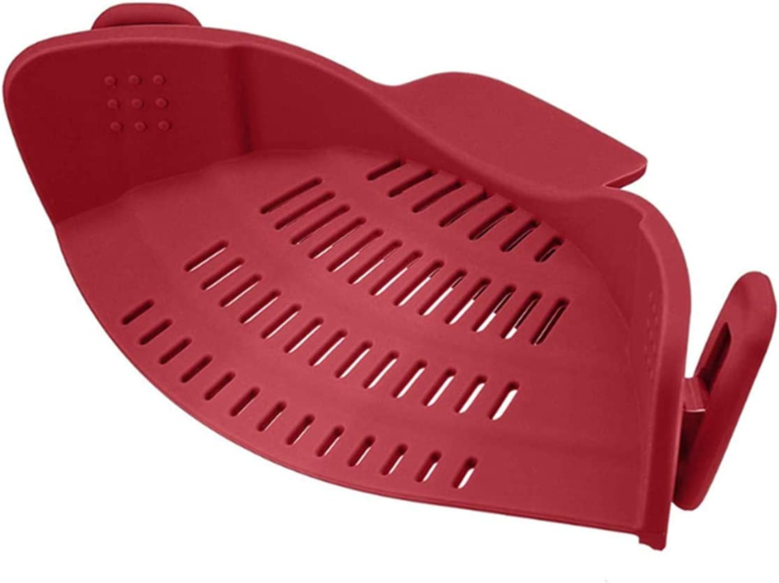 XJS Kitchen Food Strainer, Silicone Snaps Strain Clip On Colander, Fits all Pots and Bowls (Red)
