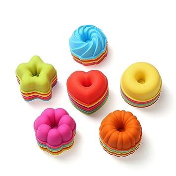 Moldes de silicona reutilizables para donuts antiadherentes y resistentes al calor, 36 unidades, sin BPA: Amazon.es: Hogar