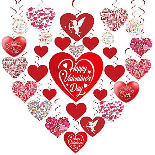 GOER Valentine's Day Party Decorations,30 Pcs Hanging Swirls with 1000 Pcs/0.35 oz Heart Confetti Valentine's Day Party