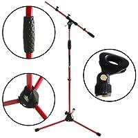 KEEPDRUM MS106 Mikrofonständer mit Galgen u. Metall-Sockel in 4 Farben + Klammer (Rot)