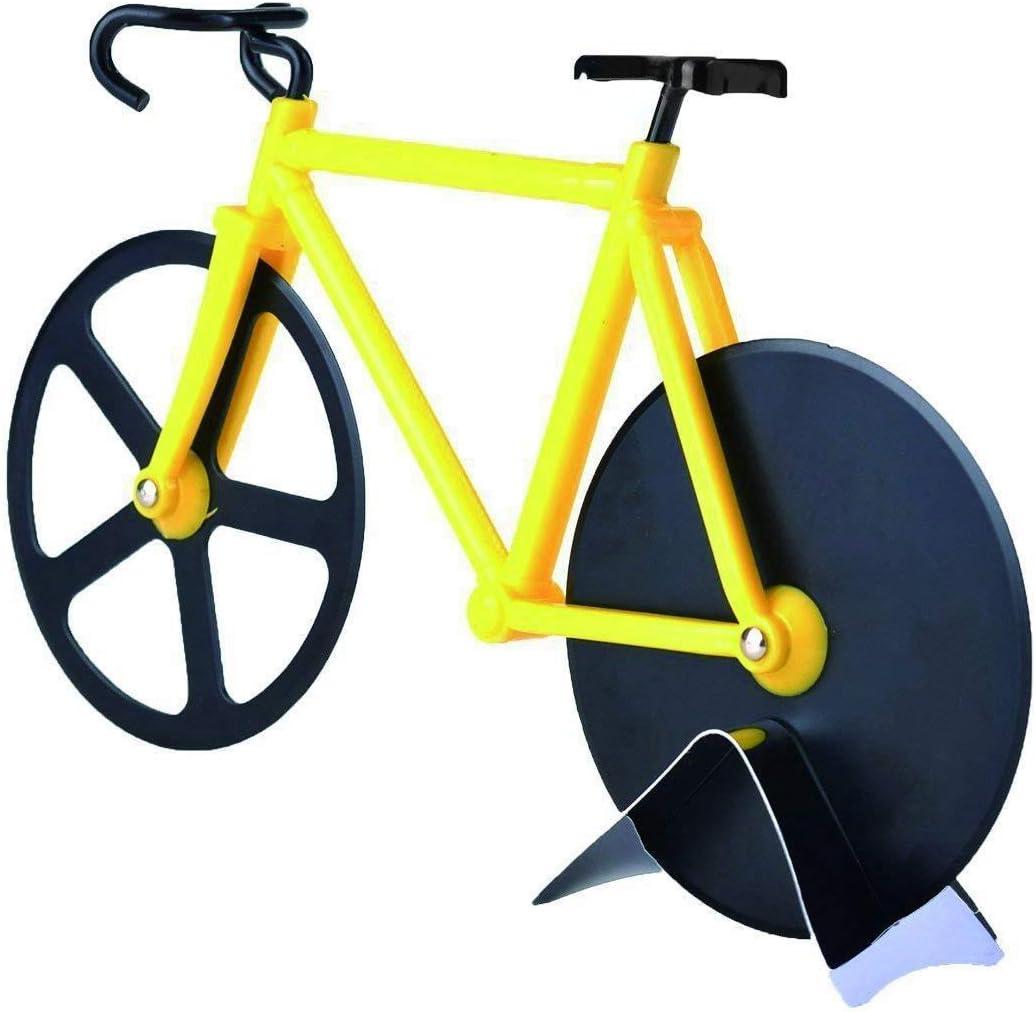 Compra WOVELOT Cortador de Pizza para Bicicleta Rueda Cortador de Pizza de Bicicleta de Acero Inoxidable Dual (Amarillo Y Negro) en Amazon.es