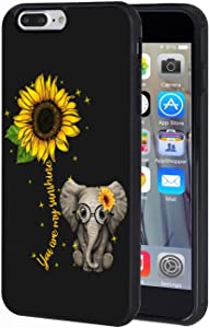 iPhone 7 Plus Case, iPhone 8 Plus Case, Slim Anti-Scratch TPU Rubber Protective Case Cover for iPhone 7 Plus/iPhone 8 Plus 5.5 inch - Sunflower and Elephant