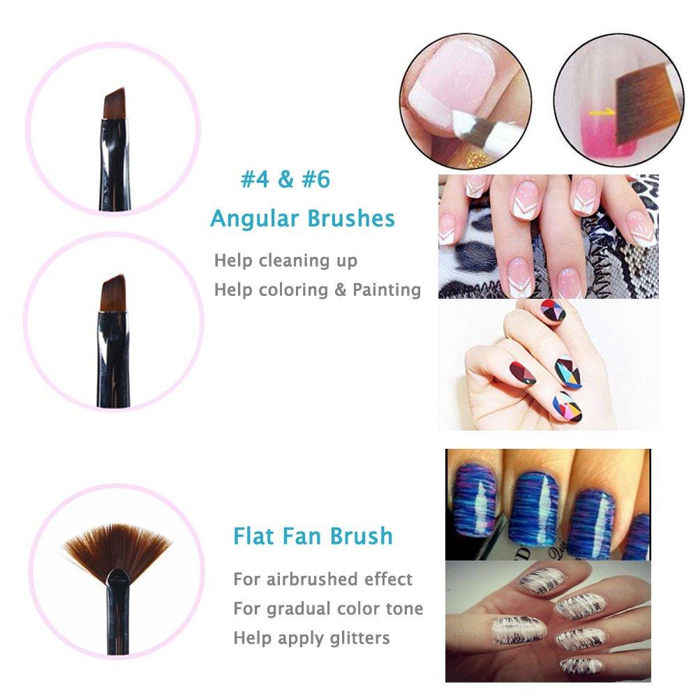 Amazon.com : Ejiubas 5 Pcs Nail Art Brushes Set, Fan Brush & Liner ...
