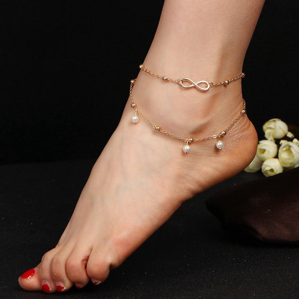 ccxx Fu/ßkettchen Mode Perle 8 Wort Fu/ßkette Handgemachte Perlenstickerei Doppelschicht Armband Wild Pers/önlichkeit Kreativ Allergie Frauen Schmuck,Gold-OneSize