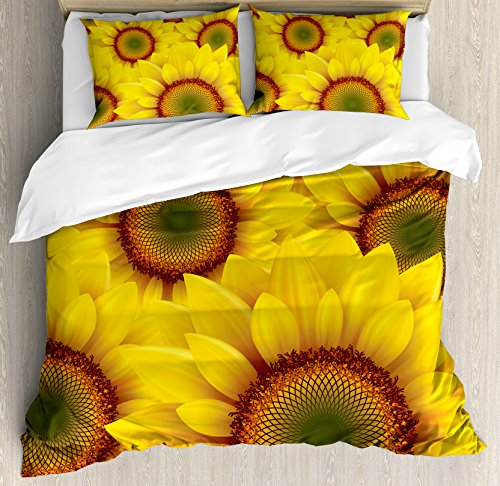 Yellow Queen Size Duvet Cover Set by Ambesonne, Cute Sunflower Field as Summer Background Happiness Colorful Nature Art Print, Decorative 3 Piece Bedding Set with 2 Pillow Shams, Orange Yellow