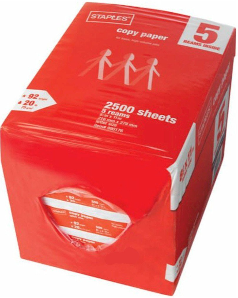 Staples Copy Paper, 2500 Sheets 5-Ream Case, White