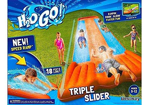 Inflatable Water Slide Triple Pool Kids Park Backyard Play Fun Outdoor (Lagoon Water Park)