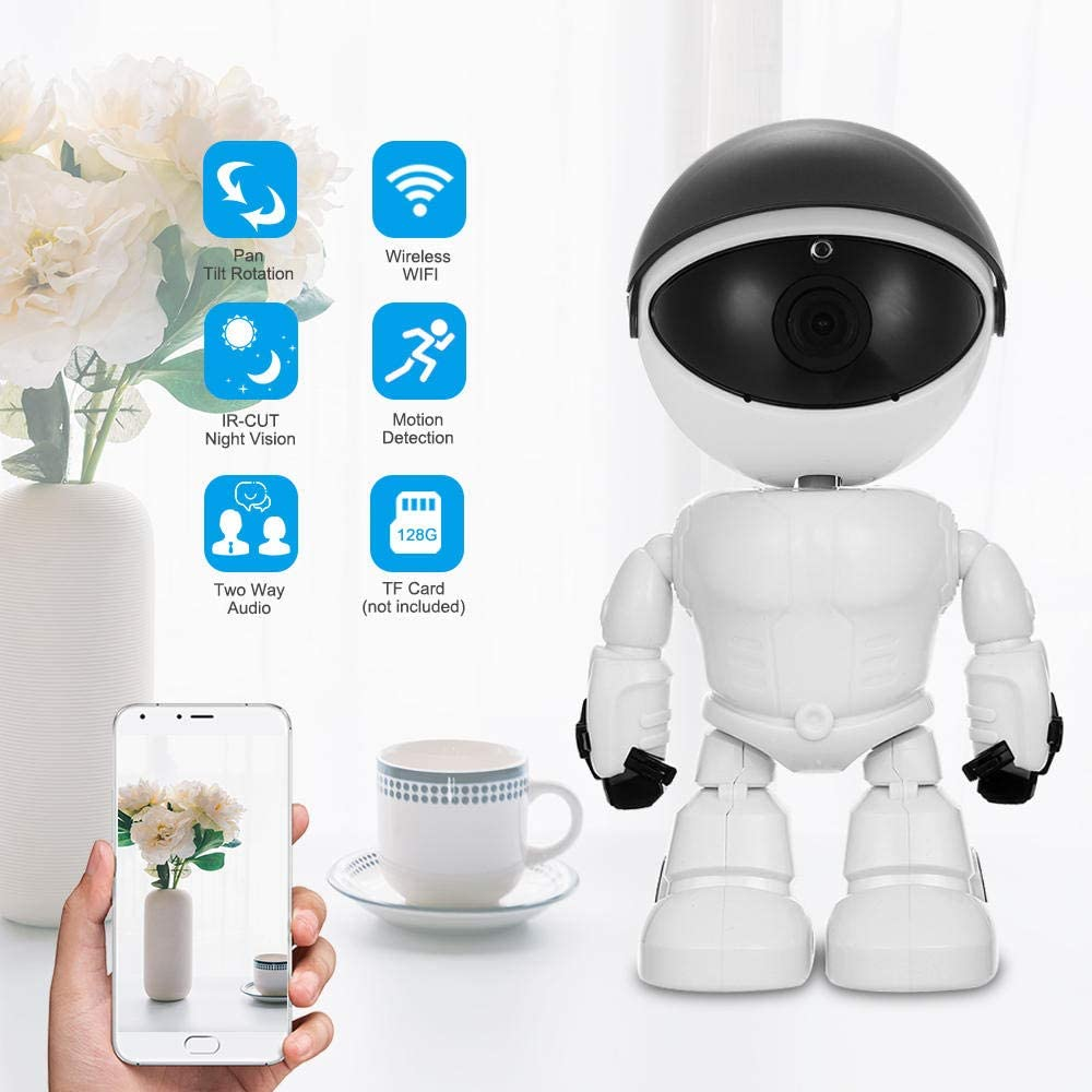 DYWLQ Cámara de Seguridad de vigilancia en el hogar WiFi, Robot Cámara IP 1080P Niñera del bebé Monitor con detección de Movimiento Visión Nocturna 2-Way Control de la aplicación de Audio: Amazon.es: