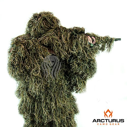 Arcturus Ghost Ghillie Suit - Includes Matching Rifle Wrap (Woodland, Regular)