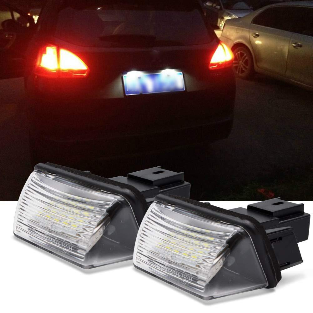 2 Pi/èces LncBoc LED /Éclairage plaque immatriculation auto ampoules super brillant CanBus Pas derreur 6000K x/énon blanc froid 3W 12V 18 SMD Feux arri/ère pour A2 A3 etc