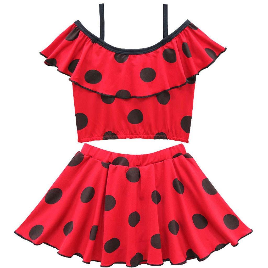 Red,3-4 Years Kids Girls Bikini Swimsuit Polk Dot Printed Swimwear Bathing Suit Set Swimming Costume Dress