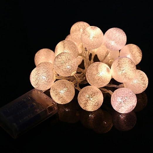 Hunpta - Guirnalda de luces de bola de algodón con 20 luces LED (2,3 m, luz blanca cálida): Amazon.es: Iluminación