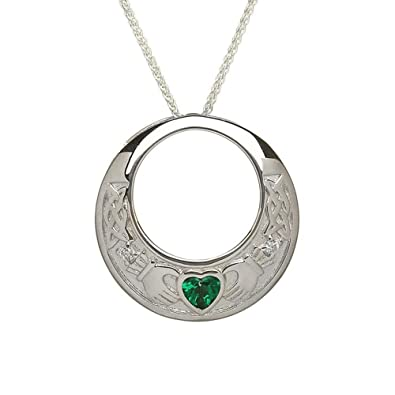 Women sterling silver celtic claddagh with emerald heart necklace women sterling silver celtic claddagh with emerald heart necklace pendant and 18inch 45cm sterling aloadofball Images