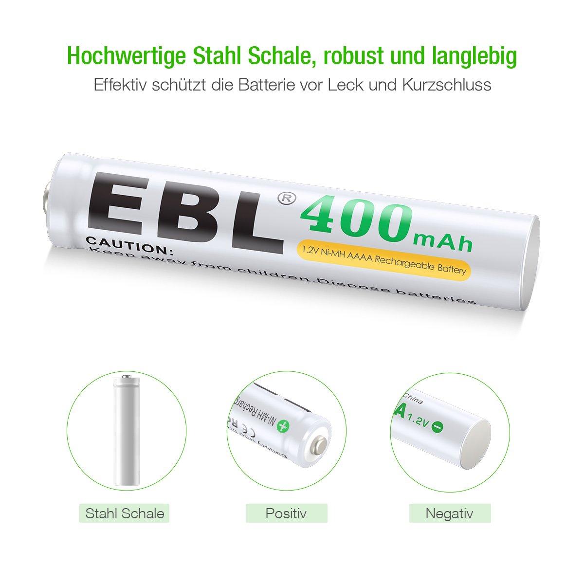 EBL NI-MH Akku 400mAh AAAA Akku für Eingabestift, Taschenlampe mit Aufbewahrungsbox 4er Pack