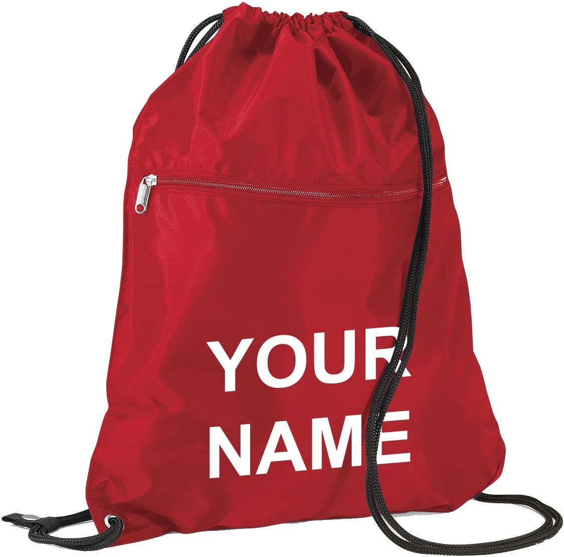 Red Personalised Kids Drawstring School Zip Gymsac Sports Nursery Shoe Swim Bag