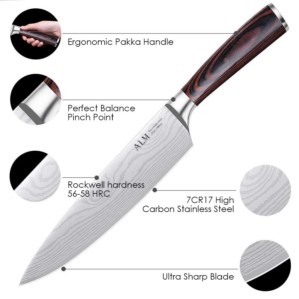 Amazon.com: Cuchillo de chef ALM de 7.9 in, cuchillo de ...