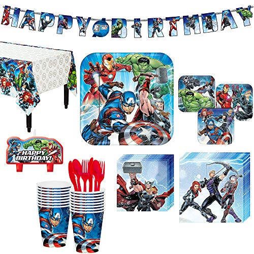 Avengers Superhero Birthday Party Kit, Includes Happy Birthday Banner and Birthday Candles, Serves 16, by Party City ()