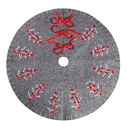 OurWarm 48 Inch Vintage Felt Tree Skirt, Grey Christmas Tree Skirt with Butterfly Knot & 3D Pom Pom Trim for Christmas Holiday Decorations from OurWarm