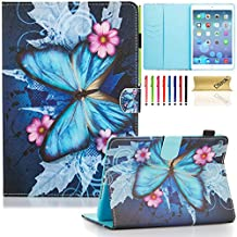 iPad mini 4 Case Cover, Dteck(TM) Ultra Slim Leather Stand Smart Cover with [Auto Sleep/Wake Feature] [Corner Protection] Protective Case for Apple iPad mini 4 (2015 Release), Blue Butterfly & Flower