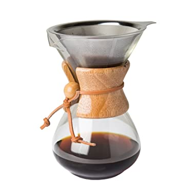 Comfify Pour Over Coffee Maker with Borosilicate Glass Carafe and Reusable Stainless Steel Permanent Filter Manual Coffee Dripper Brewer with Real Light Brown Wood Sleeve - 30 oz. - Free E-Book