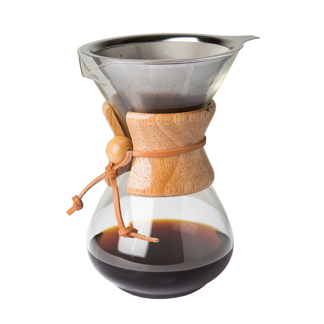 Comfify Pour Over Coffee Maker with Borosilicate Glass Carafe and Reusable Stainless Steel Permanent Filter by Manual Coffee Dripper Brewer with Real Light Brown Wood Sleeve - 30 oz. - Free E-Book