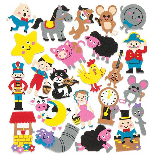 Nursery Rhymes Crafts - Baker Ross Nursery Rhymes Foam Stickers for Children to Decorate Arts Crafts Cards & Scrapbooking (Pack of 120)