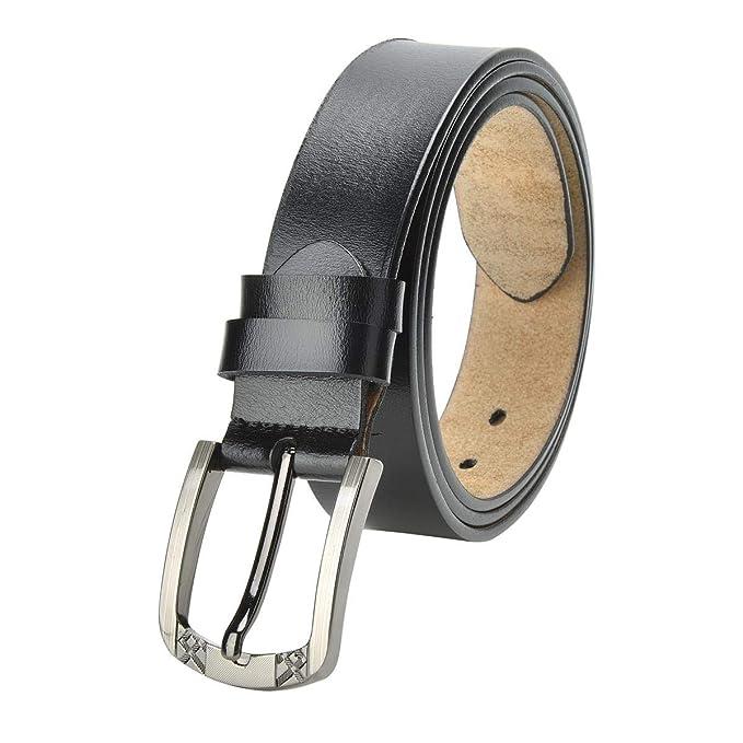 TEAMMAO Cuero Cinturón para Mujer 110CM-180CM Hombres Piel Cinturón de Gran Tamaño Hebilla de Aleación Moda de Negocios 35mm de Ancho Unisexo Cuero ...