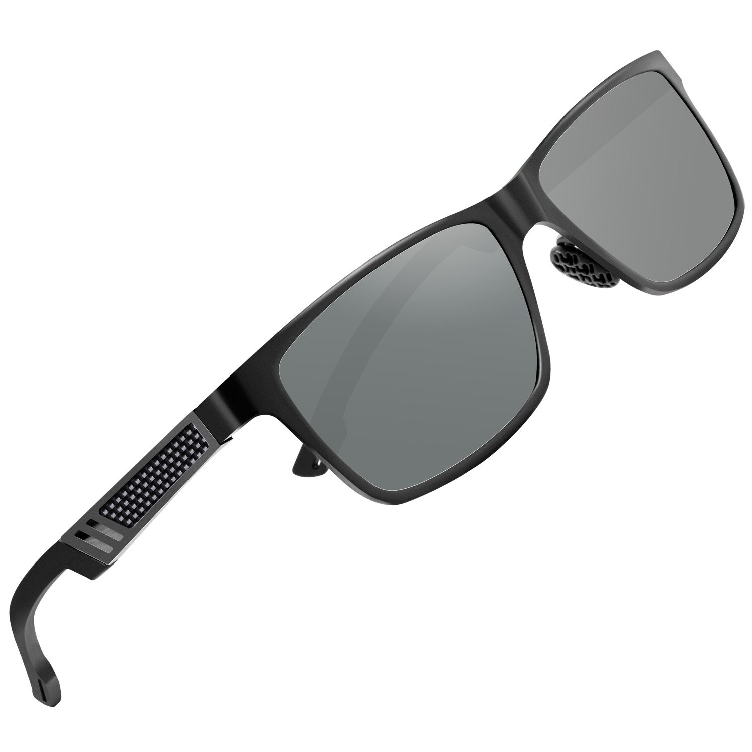 6a5898eaa4 Amazon.com  Sport Polarized Sunglasses Mens Hot Retro Wayfarer Glasses for  Driving Fishing Golf with Al-Mg Alloy Frame Black  Clothing