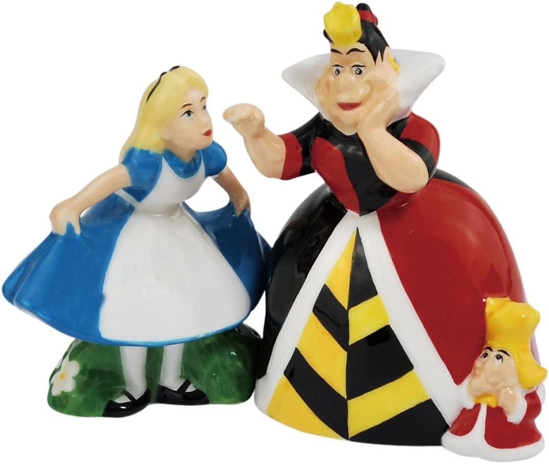 Amazon Com Westland Giftware Magnetic Ceramic Salt And Pepper Shaker Set 4 Inch Disney Alice And Queen Of Hearts Set Of 2 Alice In Wonderland Salt And Pepper Shakers Kitchen Dining