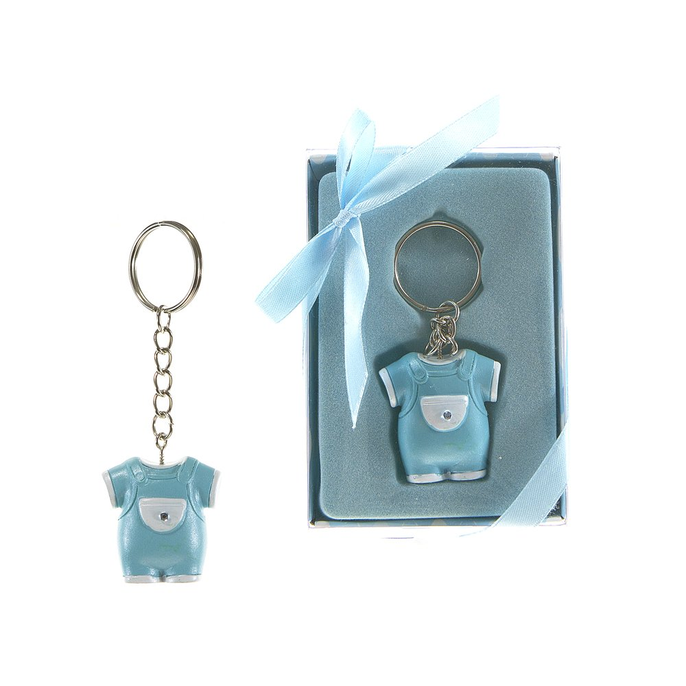 Lunaura Baby Keepsake - Set of 12 Boy Baby Clothes with Crystal Key Chain Favors - Blue KBA003-BL