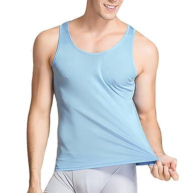 23a798d2e3ec1 LingDooo Mens Pure Silk Tank Top High Stretch Solid Summer Vest Sleeveless  Shirt at Amazon Men s Clothing store