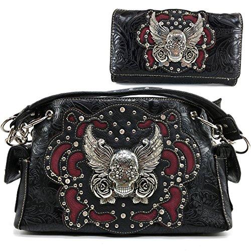 Justin West Tooled Winged Sugar Skull Roses Laser Cut Chain Shoulder Concealed Carry Handbag Purse Wallet Messenger Bag (Black Handbag and Wallet ()
