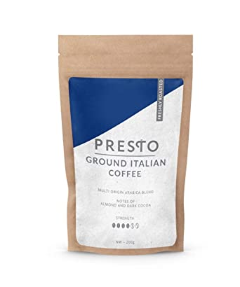 Café molido - Rico café de filtro italiano de Presto. Mezcla de Arábica - Sedosa e Indulgente con ...