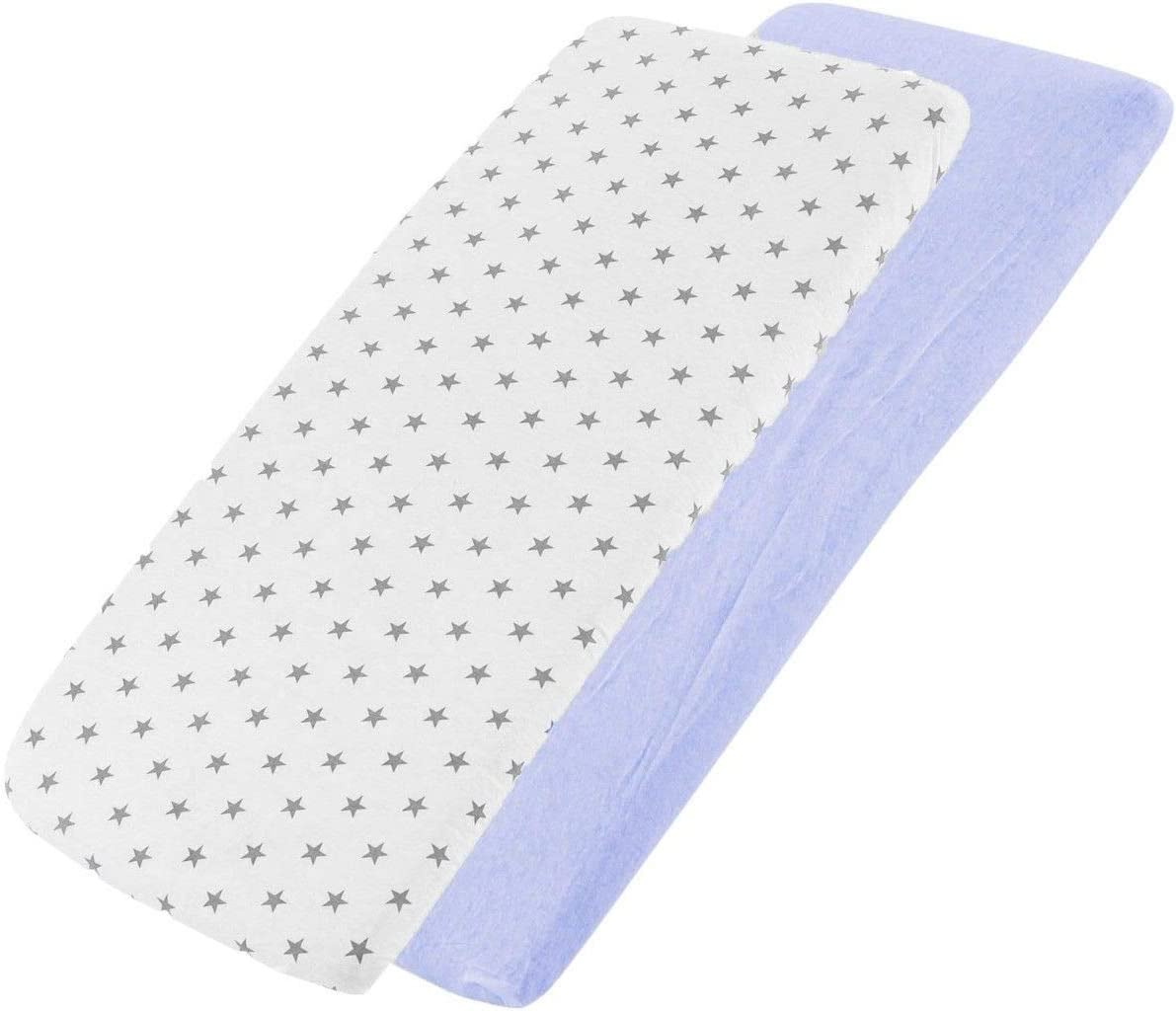 2X Light Grey FYLO Jersey Fitted Sheet Compatible with Kinderkraft Neste Bedside Crib 55x90cm 2X Blue