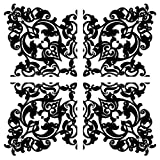 Black Full Damask Wall Decals Appliques