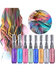 MS.DEAR Temporary Hair Color Chalk, 8 Colors Instantly Hair Chalks Set, Dye Touchup Mascara, Perfect Gift for Girls Kids Women