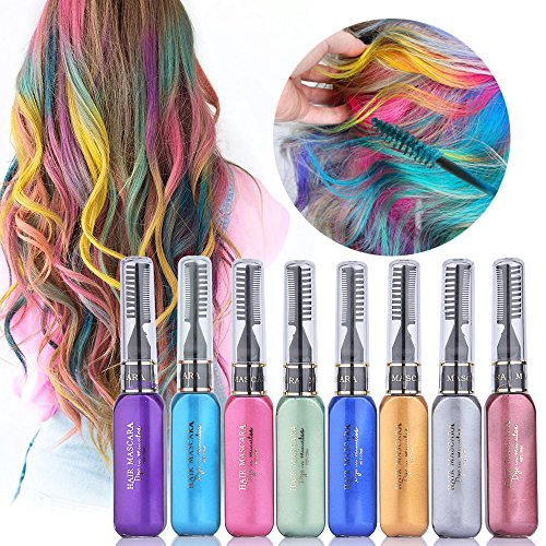 (MS.DEAR Temporary Hair Color Chalk, 8 Colors Instantly Hair Chalks Set, Dye Touchup Mascara, Perfect Gift for Girls Kids Women)