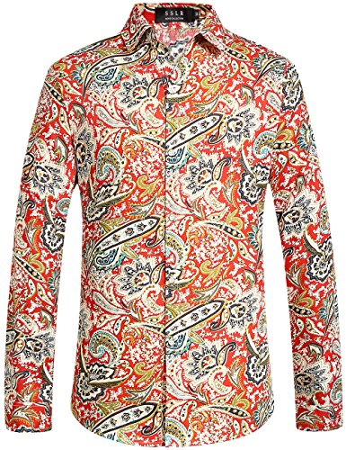 SSLR Men's Paisley Cotton Long Sleeve Casual Button Down Shirt (Large, -