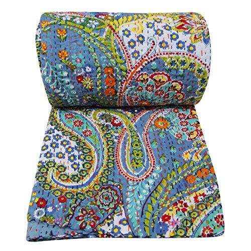 Kantha Stitch Gudri Floral Home Décor Pattern Blue Queen Size Handmade Quilt 107 X 92