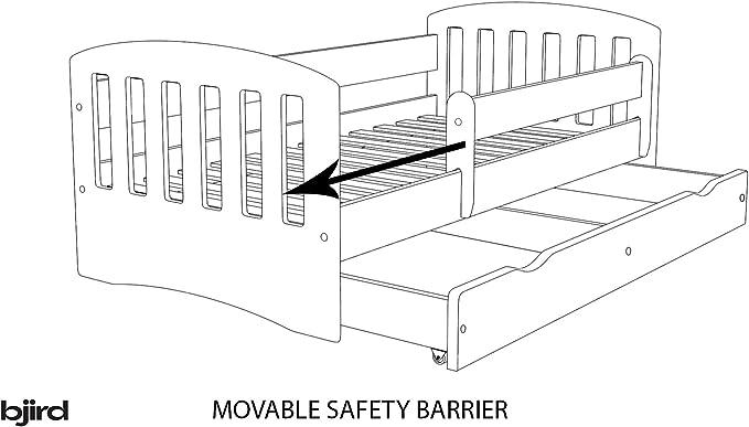 Lit d/'Enfant Complet 70x140 80x160 80x180 sommier tiroir barrier/ères Matelas pour Filles gar/çons lit Simple Safari Blanc 70 x 140 cm