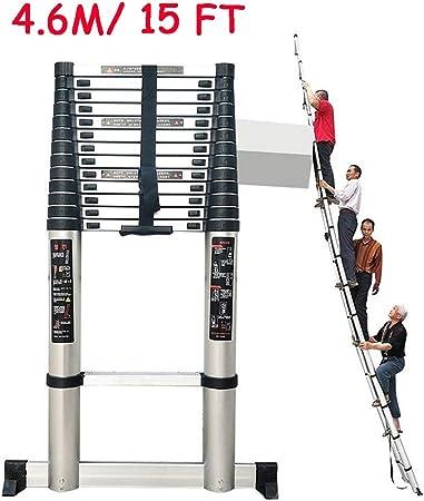ZAQI Escalera Extensible Escalera telescópica Escalera de extensión Extra Alta de 4.6M / 7M / 8M con Barra estabilizadora - Escaleras Ligeras Plegables de Servicio Pesado para el hogar Industrial DIY: Amazon.es: Hogar