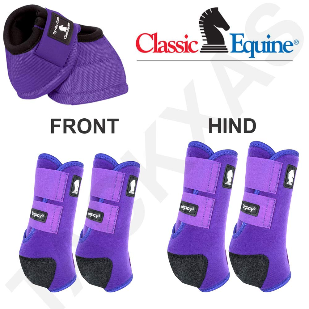 Classic Equine MED Lightweight Horse LEGACY2 Front HIND Bell Sport Boots Purple