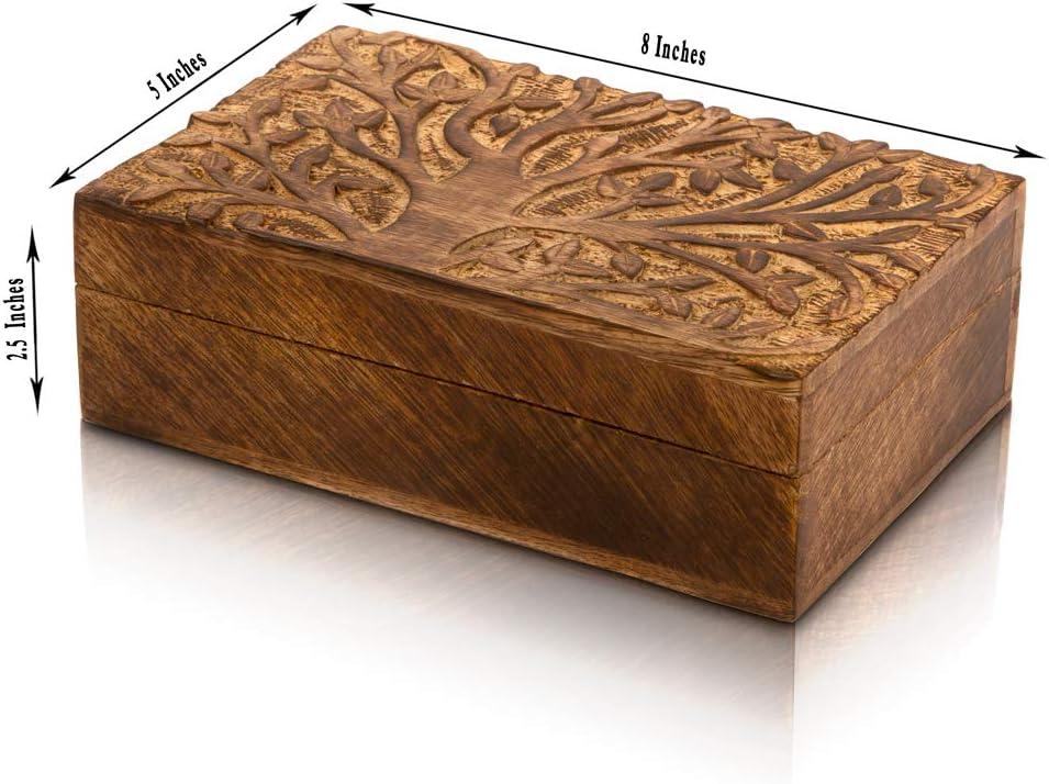 Cofanetto decorativo fatto a mano in legno per gioielli albero della vita con serratura e chiave 20 x 13 cm scatola portaoggetti