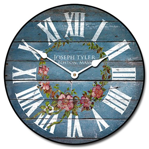 Barnwood Blue Floral Wall Clock, Available in 8 sizes - shabby chic wall art