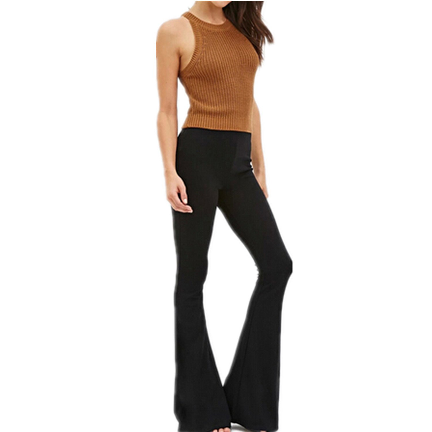 Wiipu Women's OL Bell Bottom Silm Waist Wide Leg Pants(J881)