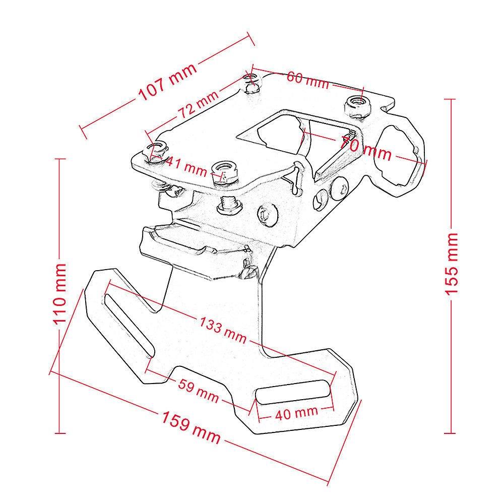 FATExpress Support de plaque dimmatriculation en aluminium pour moto Fender Eliminator avec lumi/ère pour Kawasaki Z900 ZR900 ZR Z 900
