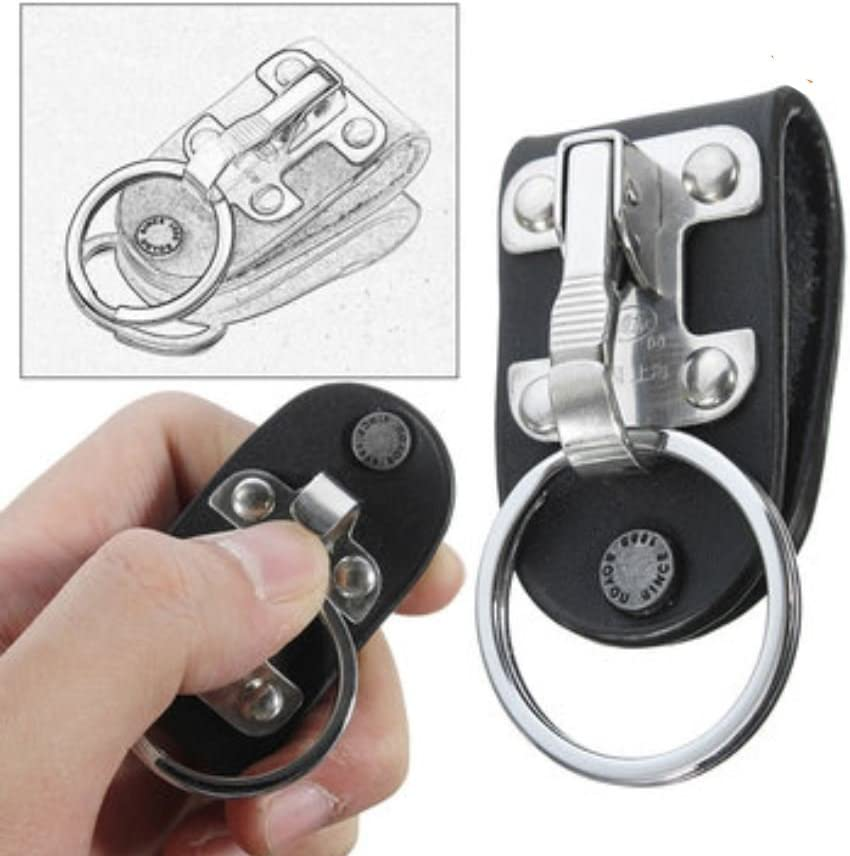 Stainless Steel Compact Quick Release Keychain Belt Clip Key Ring Holder